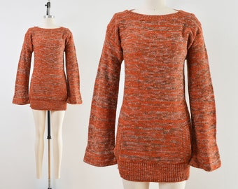 Vintage 70s Orange Space Dye Sweater | Kangaroo Pocket Boho Sweater | size XS
