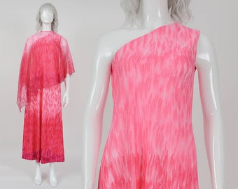70s Pink Ombre One Shoulder Maxi Dress | size Small | Sheer Chiffon Cape Asymmetrical Grecian Disco Formal Gown | S