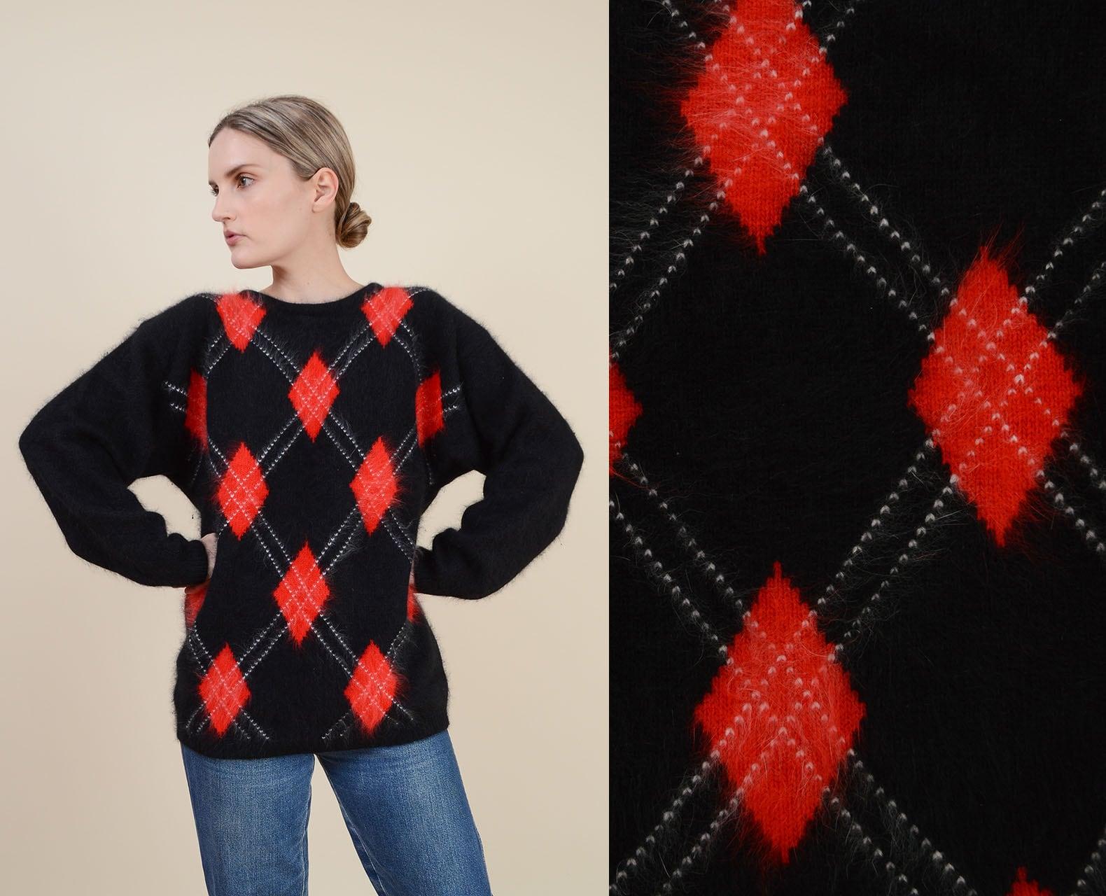 80s Sweatshirts, Sweaters, Vests | Women Vintage Black Argyle Sweater  Plush Angora Lambswool Knit Pullover Size S M $40.00 AT vintagedancer.com