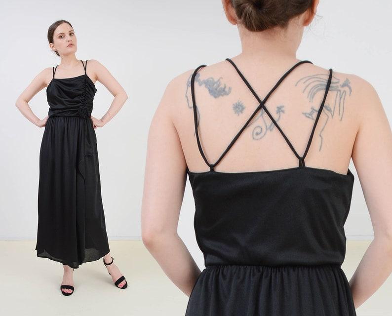 Vintage 70s Black Disco Dress  Ruched Wrap Around Spaghetti image 0