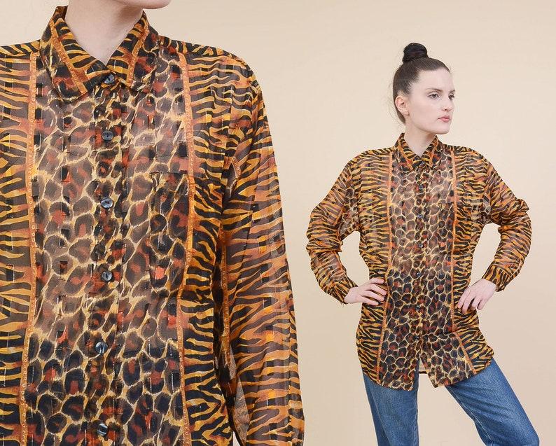 e95bd5b9677e7c Vintage Sheer Animal Print Blouse size Small Tiger Leopard
