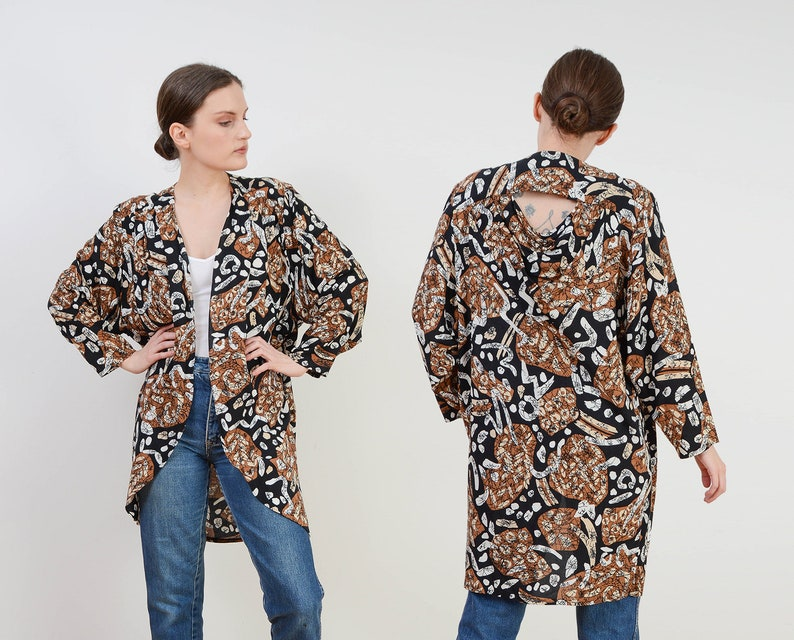 Vintage 80s Abstract Batik Print Jacket  Open Front Draped image 0