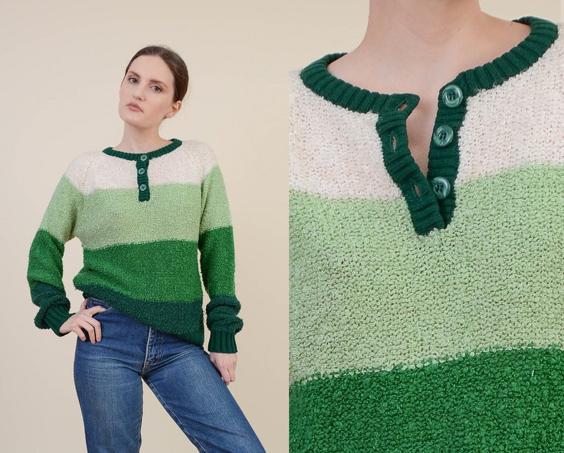 Vintage 70s Green Striped Sweater  size S M  Boucle Knit Top image 0