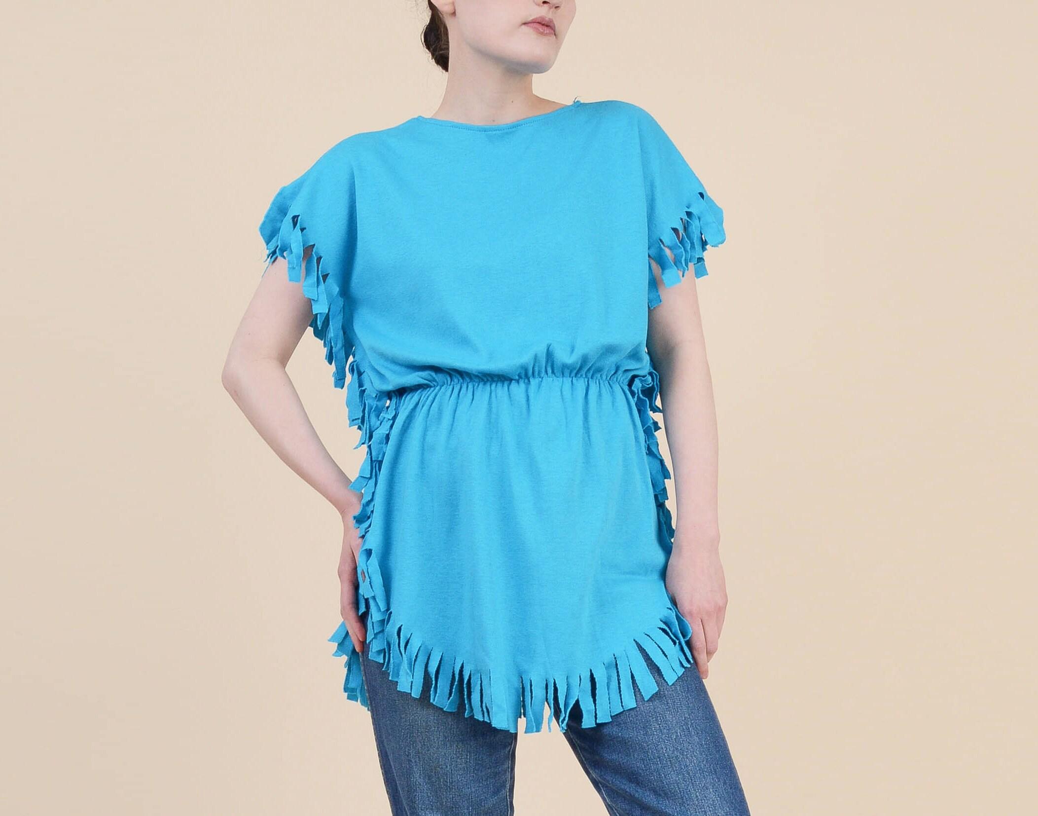1f767ae925128 80s Bright Blue T-shirt size S M Boho Hippie Fringe Tunic | Etsy