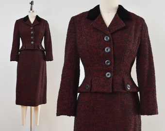 Vintage 40s 50s Tweed Wool Suit | Fitted Hourglass Jacket | Black and Red Pencil Skirt | size XS