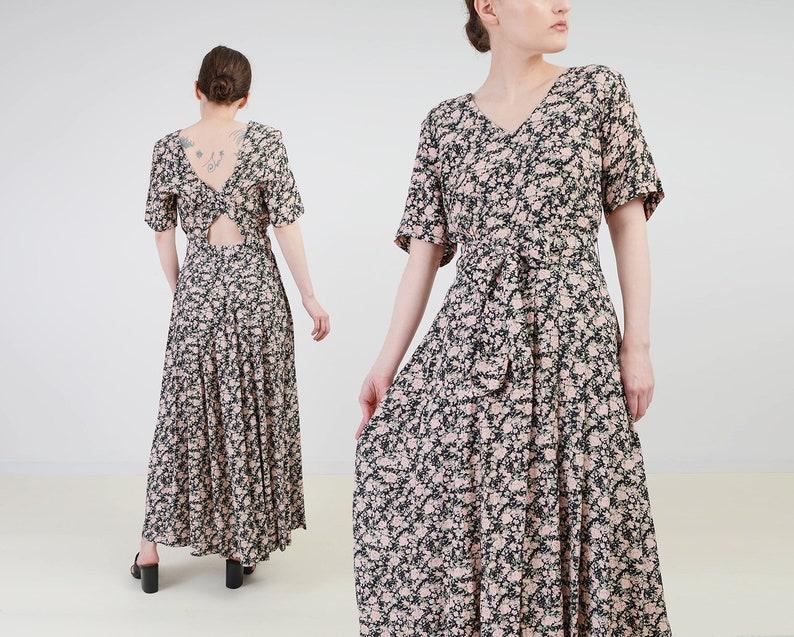 Vintage 90s Floral Maxi Dress  size Medium  Black and Pink image 0