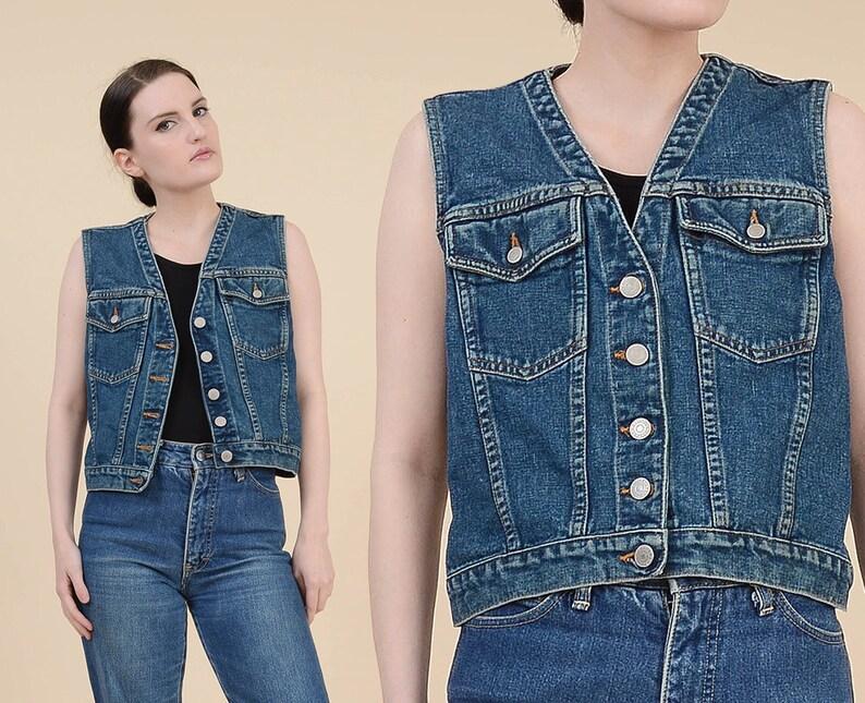 af97e83e40b1a 80 s veste en Jean taille XS S Jean Grunge gilet bouton en | Etsy