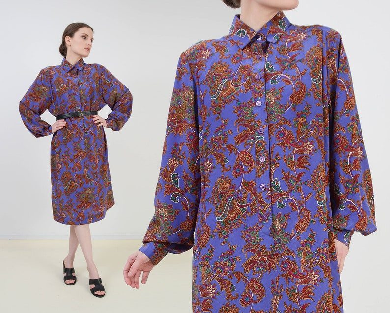 Vintage 80s Purple Paisley Shirt Dress  Collared Button Down image 0