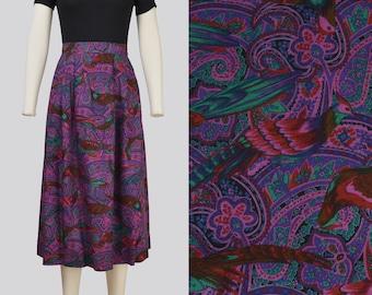 Vintage Paisley BIRD Print Skirt | High Waist Pleated Front A-line Skirt with Pockets | size M 31 waist