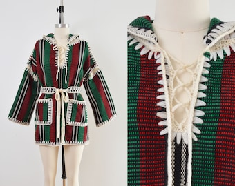Vintage 70s Striped Mexican Hoodie | Baja Drug Rug Pullover with Crochet Tie Belt | size M L