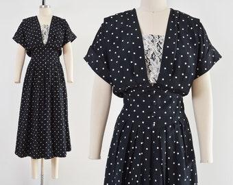 Vintage 80s does 40s Polka Dot Dress   Black and White Lace Blouson Dress   size Medium