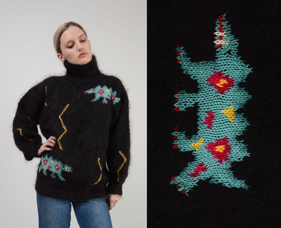 Vintage Black Mohair Sweater | Abstract Alligator