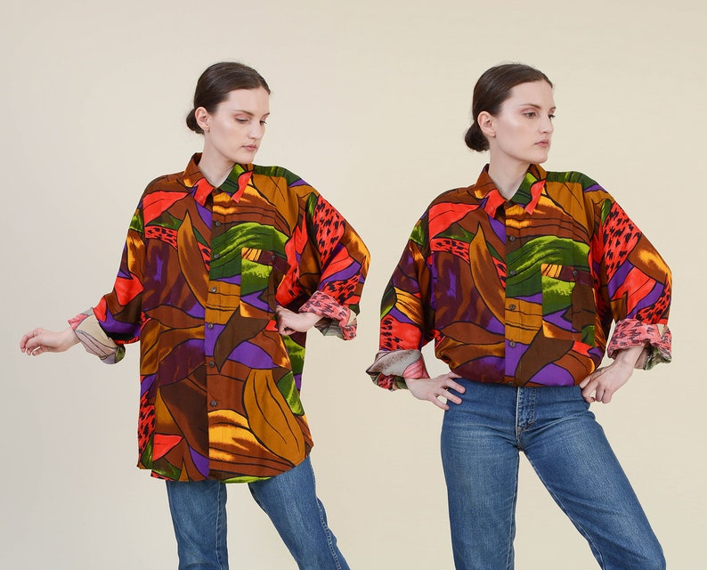 Vintage 80s Tropical Print Shirt  size XL  Oversized Shirt  image 0
