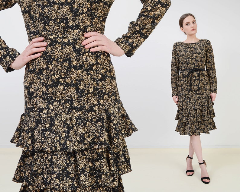 Vintage 80s Silk Floral Dress  Black and Tan Dropped Waist image 0