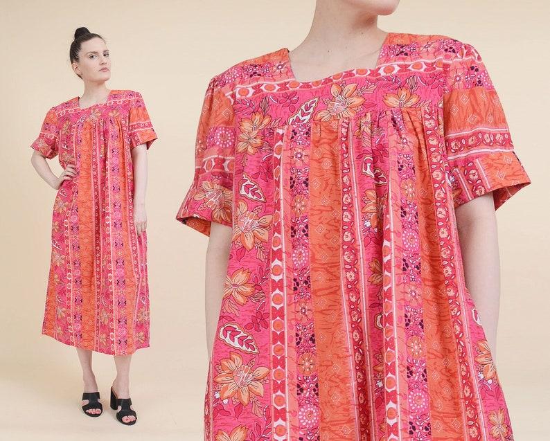 857b11781064 Vintage 90s Hawaiian Tent Dress Pink and Orange Cotton | Etsy