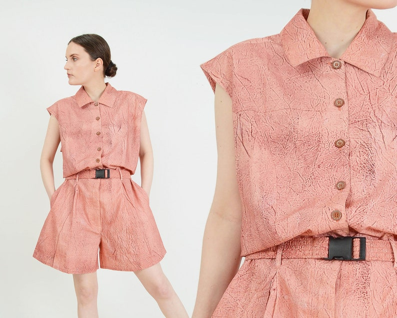 Vintage Salmon Pink Romper  size Large  Collared Button Down image 0