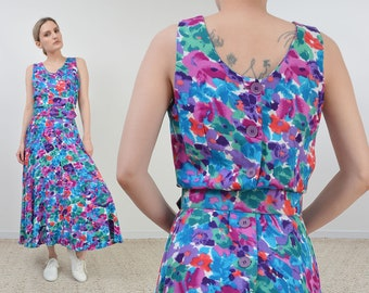 Vintage Watercolor Floral Dress   Full and Flowy Sundress with Belt   size S M 25 - 28 waist