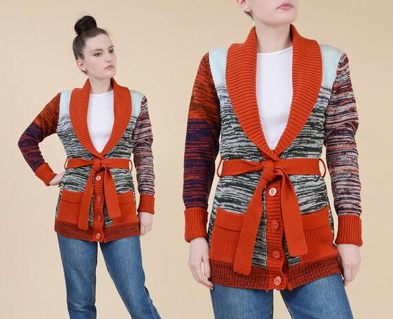 9a4ab2791d Vintage 70s Boho Space Dye Cardigan size XS S Hippie Shawl