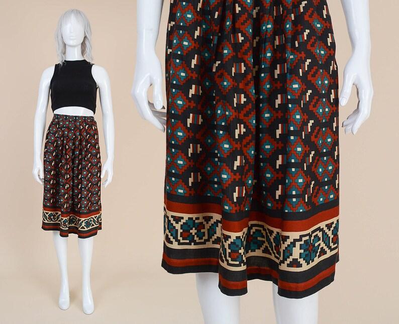 5d36fa4eb 80s Southwestern Print Skirt size 28 waist Tribal Aztec   Etsy