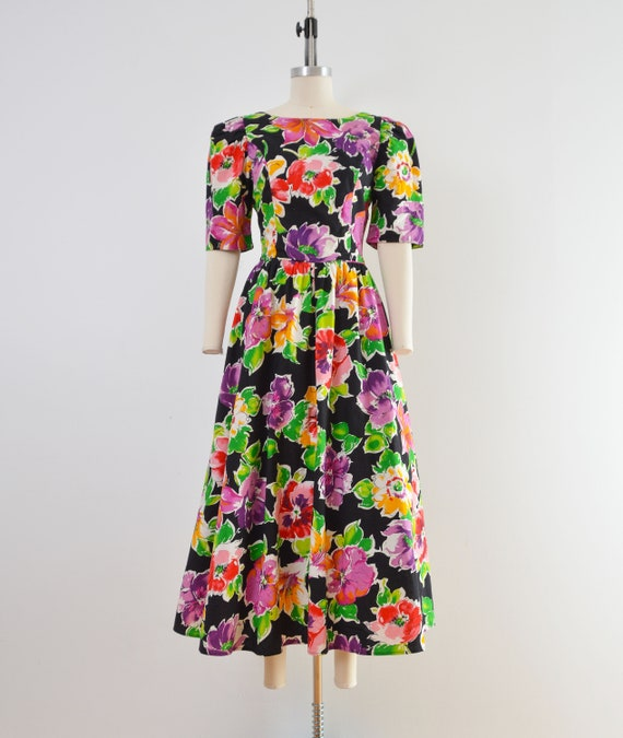 Vintage 80s Floral Cotton Dress | Puff Sleeve Ope… - image 2