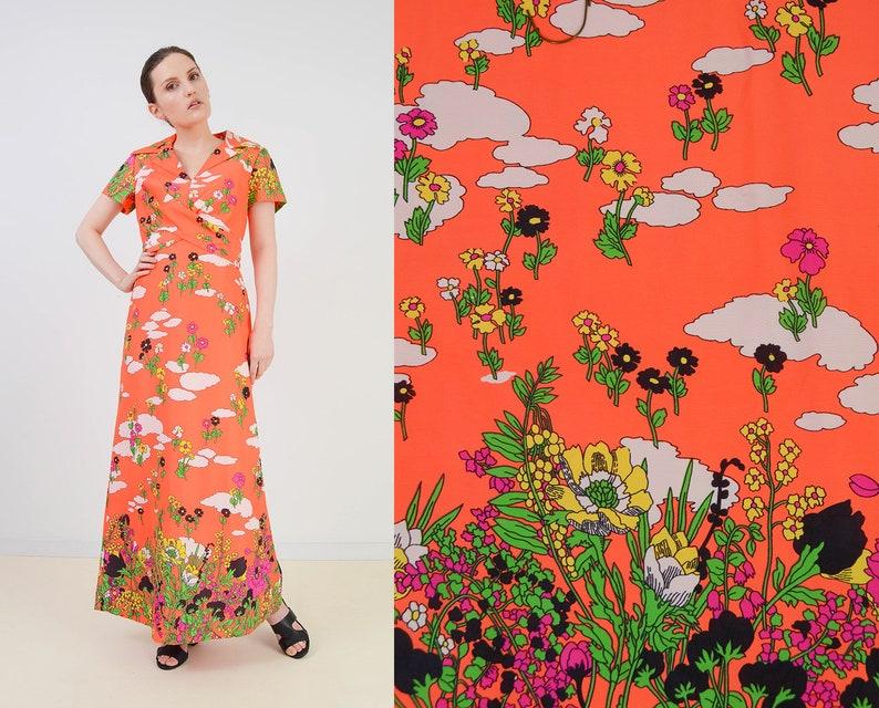 Vintage 60s Neon Orange Maxi Dress  Psychedelic Mod Floral image 0