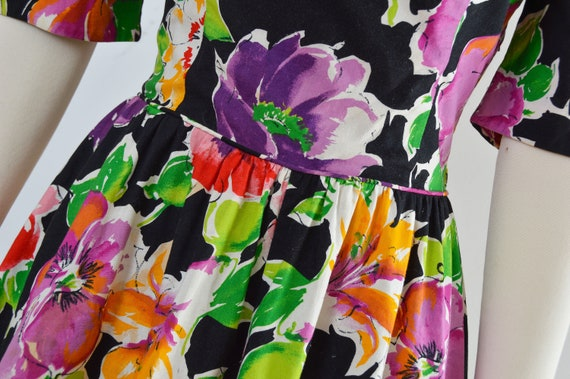 Vintage 80s Floral Cotton Dress | Puff Sleeve Ope… - image 8