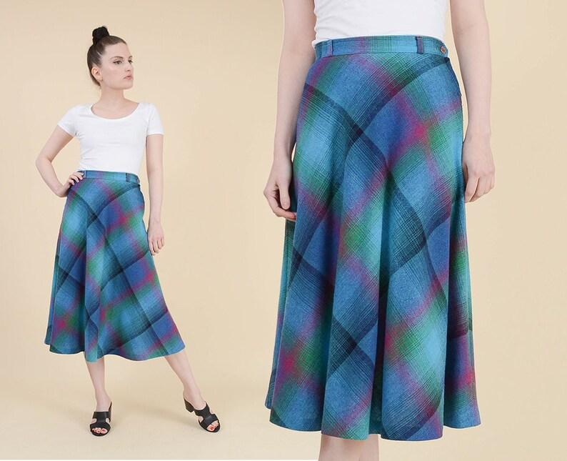 166b141e18 70s Blue Plaid Skirt size Small Wool Blend Flowy A-line | Etsy