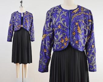 Vintage Purple Silk Beaded Jacket | Cropped Bolero Jacket | size M L