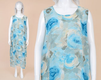 90s Sheer Watercolor Floral Dress | size M L | Sleeveless Airy Chiffon Layered Boho Midi Sundress with Pockets Blue White | Medium Large