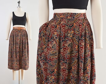 Paisley Corduroy Skirt | High Waisted Pleated Front Vintage Cotton Midi Skirt with Pockets | size M