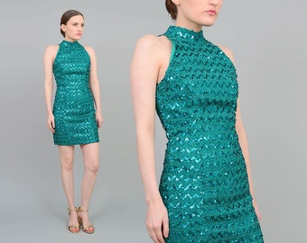 80s Green Sequin Dress | size XS S | Body Con Mini Dress | Cut Out Tight Wiggle Dress | 1980s Sequined Party Dress | Small S