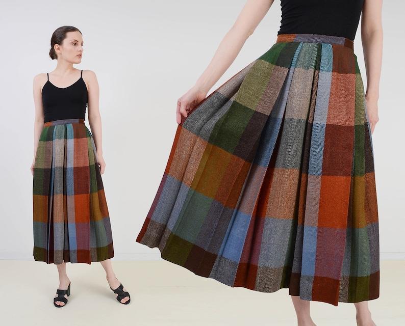 Vintage 50s Checkered Plaid Skirt  High Waist Wool Pleated image 0