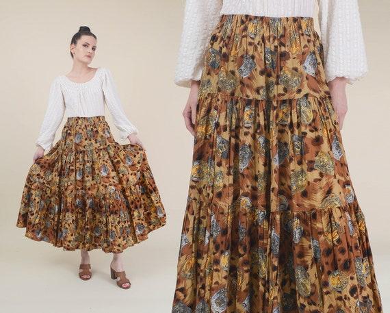 Vintage Animal Print Maxi Skirt | Full Tiered Skir