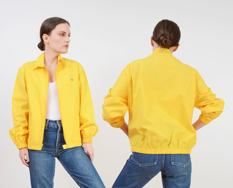 Vintage 80s Etienne Aigner Jacket  Yellow Windbreaker Jacket image 0