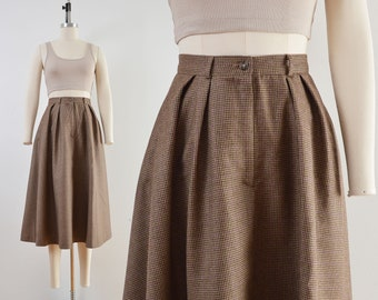 Vintage Brown Houndstooth Wool Skirt | Full Midi Length Skirt with Pockets | size XS S