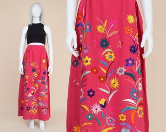 70s Pink Embroidered Floral Maxi Skirt | size 30 waist | High Waist Boho Hippie Mexican Oaxacan A-line Long Skirt | Medium