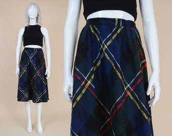 80s Tartan Plaid Skirt | size S M | Wool Blend High Waist Preppy Full A-line Midi Skirt Black Blue Green | Small Medium