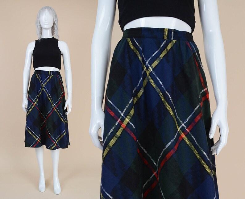 3b50d392560d 80s Tartan Plaid Skirt size S M Wool Blend High Waist   Etsy