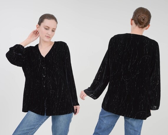 Vintage Black Burnout Velvet Blouse | Silk Blend V