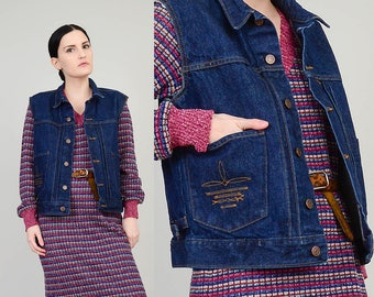 RALPH LAUREN 70s Jean Vest Cut Off Sleeveless Jacket Cropped Boxy Dark Wash Denim Vest Hippie Top   Womens Medium M