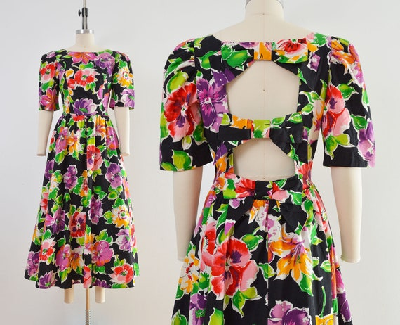 Vintage 80s Floral Cotton Dress | Puff Sleeve Ope… - image 1