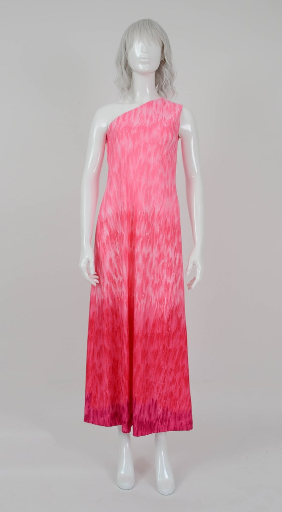 Vintage 70s Pink Ombre One Shoulder Maxi Dress Size Small Etsy