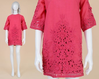 60s Pink Embroidered Mini Dress | size Small | Floral Lace Cutwork Dress Cotton Micro Mini Dress Boho Mod Shift Dress | S 6