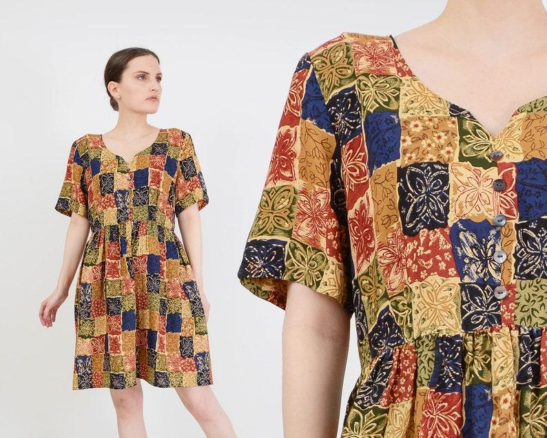 Vintage 90s Floral Patchwork Print Dress  Boho Grunge image 0
