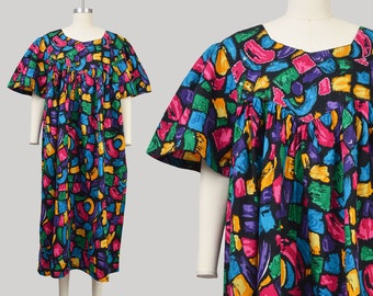 Vintage Abstract Tent Dress | Cotton Muu Muu | Sequin Caftan with Pockets | size Large