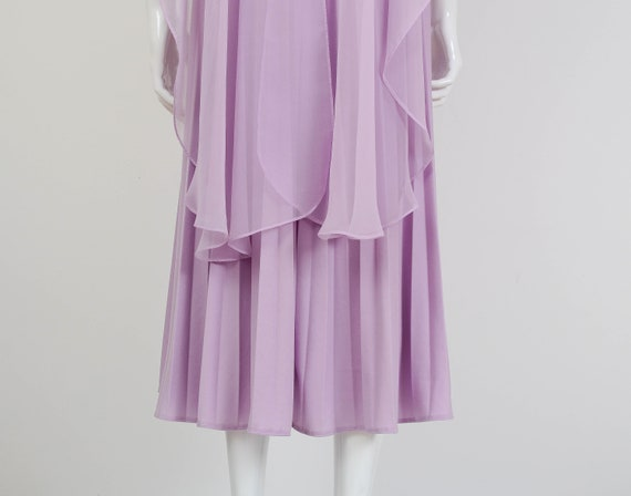 Medium Goddess Grecian Sheer M Small S size Cape Pleated Waist 70s 6 Midi Cocktail Dress Accordion Empire 8 Lavender Formal Dress 1qxnFxUv