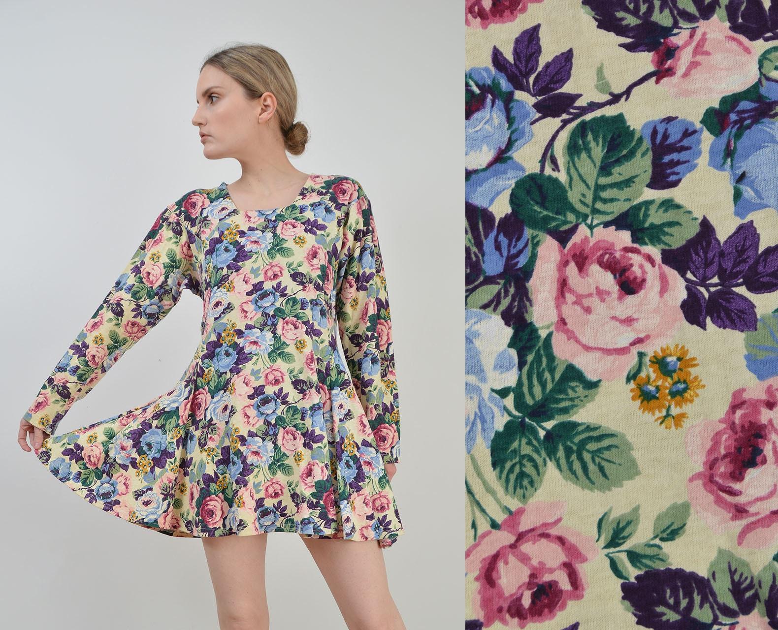 80s Dresses | Casual to Party Dresses Vintage 90S Floral Mini Dress  Boho Grunge Fit  Flare Cotton Jersey Knit Medium $0.00 AT vintagedancer.com