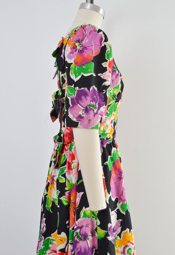 Vintage 80s Floral Cotton Dress | Puff Sleeve Ope… - image 4