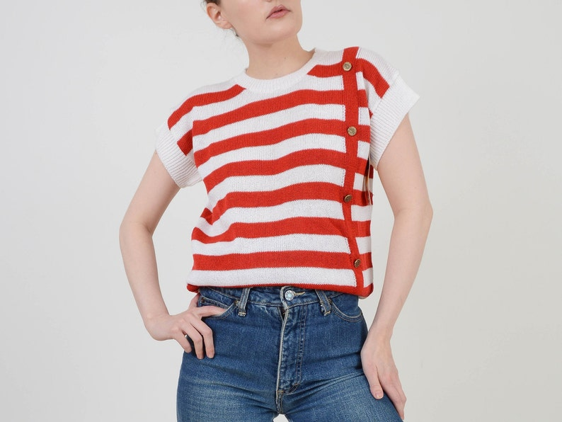 Vintage 80s Striped Sweater  Red and White Nautical Top  Cap image 0
