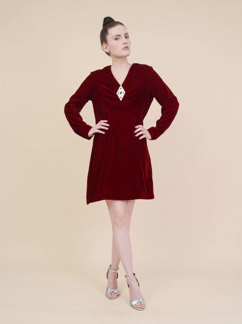 79a84c39045 Vintage Burgundy Velvet Dress Rhinestone Empire Waist Mod